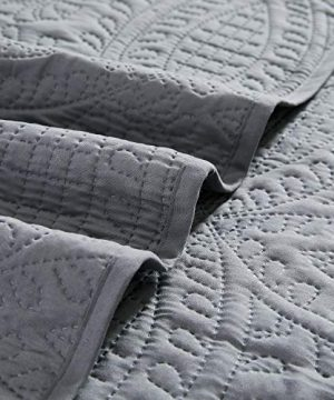 Mellanni Bedspread Coverlet Set Charcoal Comforter Bedding Cover Oversized 3 Piece Quilt Set KingCal King Gray 0 2 300x360