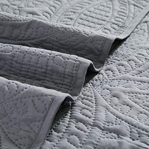 Mellanni Bedspread Coverlet Set Charcoal Comforter Bedding Cover Oversized 3 Piece Quilt Set KingCal King Gray 0 2