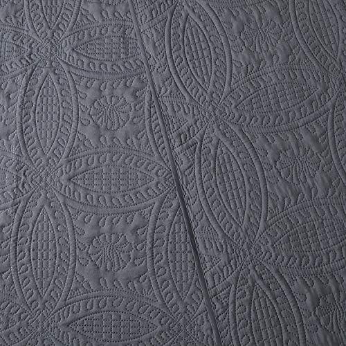Mellanni Bedspread Coverlet Set Charcoal Comforter Bedding Cover Oversized 3 Piece Quilt Set KingCal King Gray 0 3