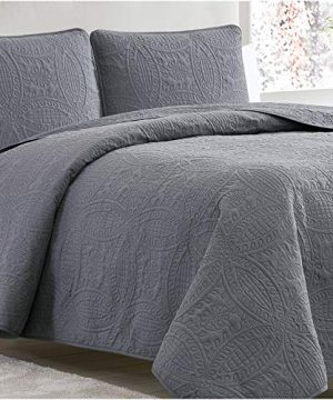 Mellanni Bedspread Coverlet Set Charcoal Comforter Bedding Cover Oversized 3 Piece Quilt Set KingCal King Gray 0 300x360