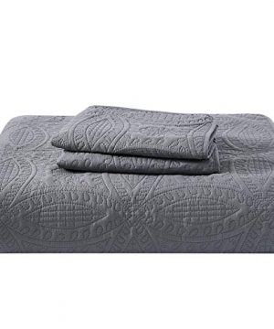 Mellanni Bedspread Coverlet Set Charcoal Comforter Bedding Cover Oversized 3 Piece Quilt Set KingCal King Gray 0 4 300x360