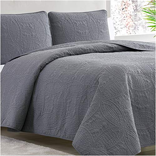 Mellanni Bedspread Coverlet Set Charcoal Comforter Bedding Cover Oversized 3 Piece Quilt Set KingCal King Gray 0