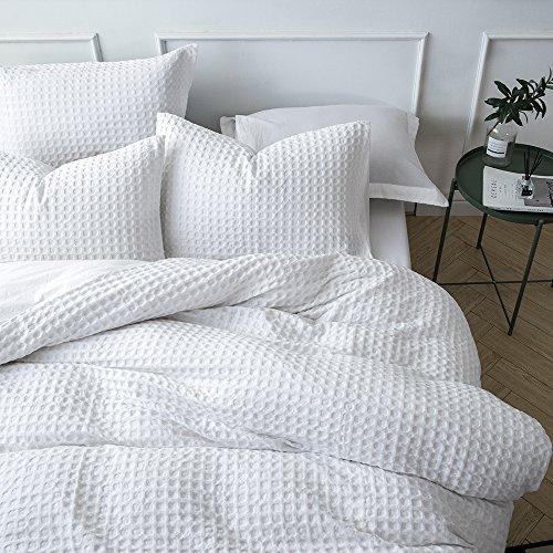 Merryfeel 100 Cotton Waffle Weave Duvet Cover Set FullQueen White 0 1