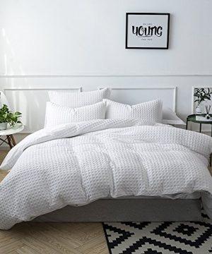 Merryfeel 100 Cotton Waffle Weave Duvet Cover Set FullQueen White 0 2 300x360