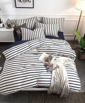 Merryfeel Cotton Duvet Cover Set100 Cotton Jersey Knit Striped Duvet Cover And Pillowshams3 Pieces Bedding Set KingNavy Stripe 0 300x360