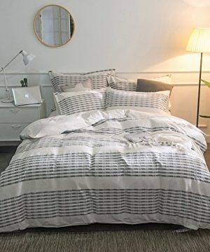 Merryfeel-Cotton-Duvet-Cover-Set100-Cotton-Yarn-Dyed-Stripe-Duvet-Cover-Set-FullQueen-Grey-0