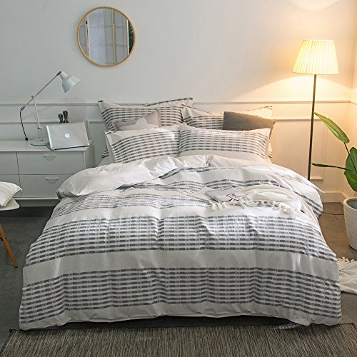 Merryfeel-Cotton-Duvet-Cover-Set100-Cotton-Yarn-Dyed-Stripe-Duvet-Cover-Set-FullQueen-Grey-0