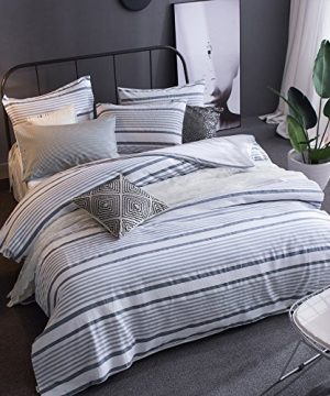 Merryfeel Cotton Duvet Cover Set100 Cotton Yarn Dyed Striped Duvet Cover And Pillowshams 3 Pieces Bedding Set FullQueen Grey Blue 0 300x360