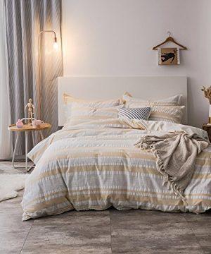 Merryfeel Duvet Cover Set100 Cotton Woven Seersucker Stripe Duvet Cover Set King 0 300x360