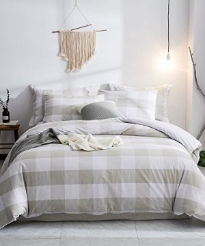 Merryfeel Duvet Cover Set100 Cotton Yarn Dyed Plaid Check Duvet Cover Set FullQueen Linen 0 300x360