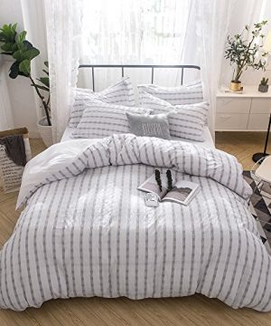 Merryfeel Seersucker 100 Cotton Yarn Dyed Duvet Cover Set FullQueen Grey 0 300x360