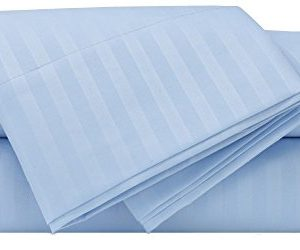 Mezzati Luxury Striped Bed Sheet Set Soft And Comfortable 1800 Prestige Collection Brushed Microfiber Bedding Light Blue Queen Size 0 300x250