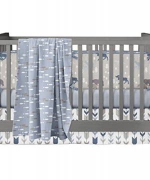 Modified Tot Crib Bedding Rustic Camp Baby BrownTanGrayBlueNavy 0 300x360