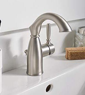 Moen 84144SRN Sarona One Handle Single Hole Rustic Farmhouse Bathroom Sink Faucet With Optional Deckplate Spot Resist Brushed Nickel 0 2 300x334