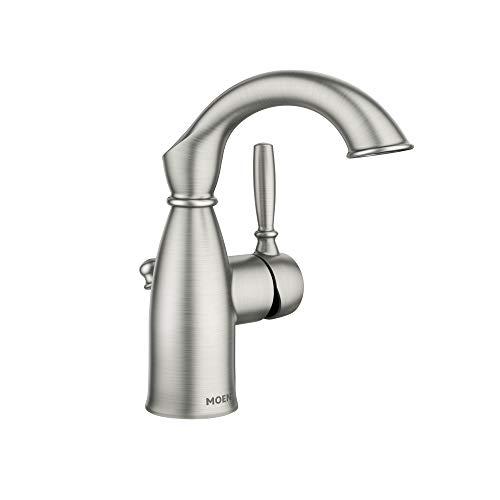 Moen 84144SRN Sarona One Handle Single Hole Rustic Farmhouse Bathroom Sink Faucet With Optional Deckplate Spot Resist Brushed Nickel 0
