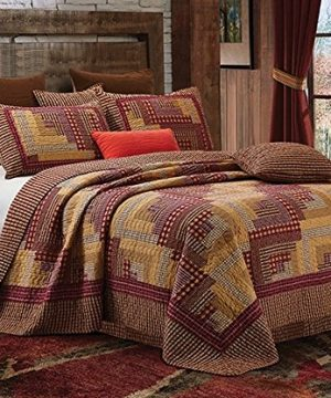 Montana Cabin Red Tan Traditional Block Quilt Set King 0 300x360