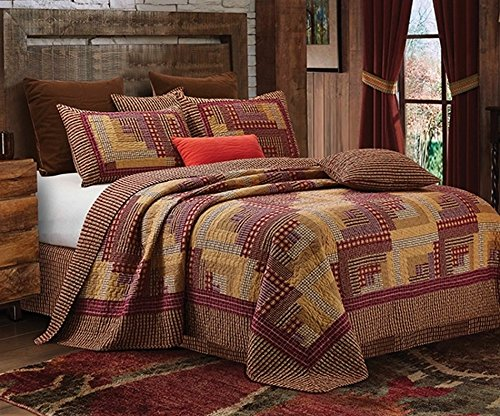 Montana Cabin Red Tan Traditional Block Quilt Set King 0