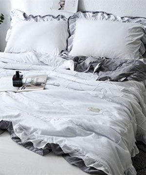 MooWoo Quilted Comforter Bed Set Soft Lightweight Microfiber Bedding Set Vintage Shabby Chic Farmhouse Style Ruffle Design Reversible Comforter With Pillow Shams 3pcs Queen White And Grey 0 300x360