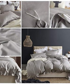 MooWoo Ruffle Duvet Cover Set Soft And Lightweight Microfiber Farmhouse Bedding Duvet Cover With Zipper Closure And Ties 3 Piece Grey Queen 0 0 300x360
