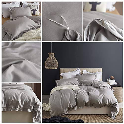 MooWoo Ruffle Duvet Cover Set Soft And Lightweight Microfiber Farmhouse Bedding Duvet Cover With Zipper Closure And Ties 3 Piece Grey Queen 0 0