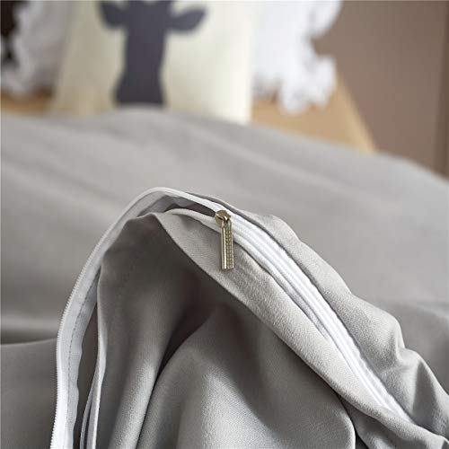 MooWoo Ruffle Duvet Cover Set Soft And Lightweight Microfiber Farmhouse Bedding Duvet Cover With Zipper Closure And Ties 3 Piece Grey Queen 0 1