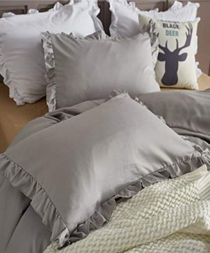 MooWoo Ruffle Duvet Cover Set Soft And Lightweight Microfiber Farmhouse Bedding Duvet Cover With Zipper Closure And Ties 3 Piece Grey Queen 0 2 300x360