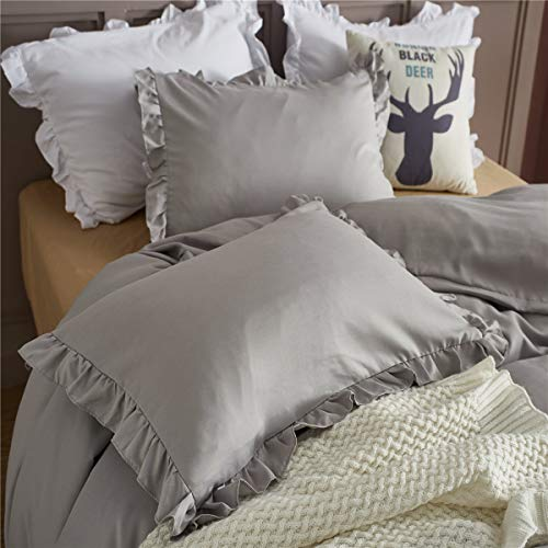 MooWoo Ruffle Duvet Cover Set Soft And Lightweight Microfiber Farmhouse Bedding Duvet Cover With Zipper Closure And Ties 3 Piece Grey Queen 0 2