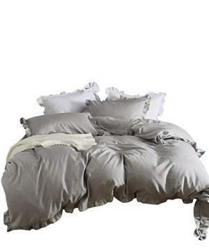 MooWoo Ruffle Duvet Cover Set Soft And Lightweight Microfiber Farmhouse Bedding Duvet Cover With Zipper Closure And Ties 3 Piece Grey Queen 0 300x360