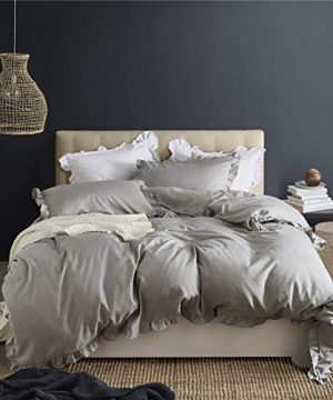 MooWoo Ruffle Duvet Cover Set Soft And Lightweight Microfiber Farmhouse Bedding Duvet Cover With Zipper Closure And Ties 3 Piece Grey Queen 0 5 300x360