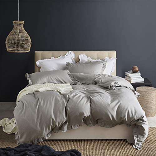 MooWoo Ruffle Duvet Cover Set Soft And Lightweight Microfiber Farmhouse Bedding Duvet Cover With Zipper Closure And Ties 3 Piece Grey Queen 0 5