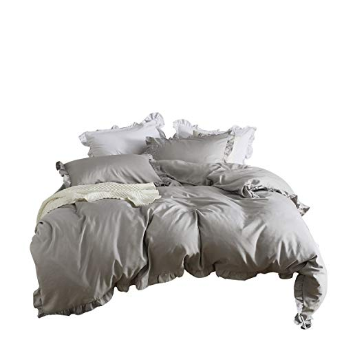 MooWoo Ruffle Duvet Cover Set Soft And Lightweight Microfiber Farmhouse Bedding Duvet Cover With Zipper Closure And Ties 3 Piece Grey Queen 0
