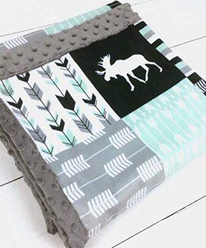Moose Arrows Minky Baby Blanket In Mint Navy 3 Sizes Customizable 0 300x360