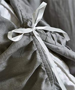 Moowoo Vintage Farmhouse Bedding 3 Pieces Ruffle Duvet Cover Set 100 Washed Microfiber Romantic Mermaid Tail French Country Style Duvet Cover With Ties Grey King 0 3 300x360
