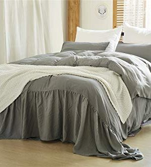 Moowoo Vintage Farmhouse Bedding 3 Pieces Ruffle Duvet Cover Set 100 Washed Microfiber Romantic Mermaid Tail French Country Style Duvet Cover With Ties Grey King 0 300x333