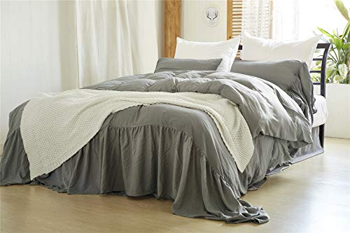 Moowoo Vintage Farmhouse Bedding 3 Pieces Ruffle Duvet Cover Set 100 Washed Microfiber Romantic Mermaid Tail French Country Style Duvet Cover With Ties Grey King 0