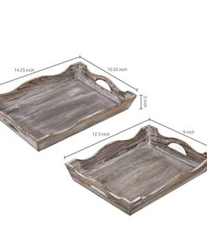MyGift Vintage Whitewashed Wood Decorative Serving Trays Set Of 2 0 2 300x360