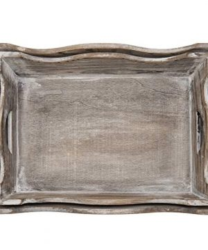 MyGift Vintage Whitewashed Wood Decorative Serving Trays Set Of 2 0 3 300x360