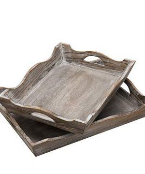 MyGift Vintage Whitewashed Wood Decorative Serving Trays Set Of 2 0 300x360