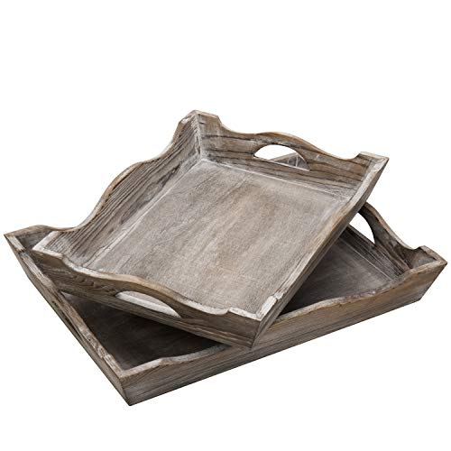 MyGift Vintage Whitewashed Wood Decorative Serving Trays Set Of 2 0