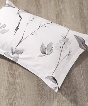 NANKO Duvet Cover Queen Set 3 Piece 90 X 90 Luxury Microfiber Down Flowers Comforter Quilt Cover With Zipper Ties Best Modern Bedding For Men Women Bed White Floral Leaf 0 3 300x360