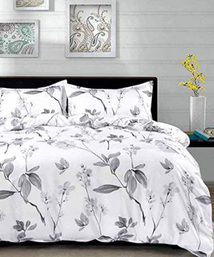 NANKO Duvet Cover Queen Set 3 Piece 90 X 90 Luxury Microfiber Down Flowers Comforter Quilt Cover With Zipper Ties Best Modern Bedding For Men Women Bed White Floral Leaf 0 300x360