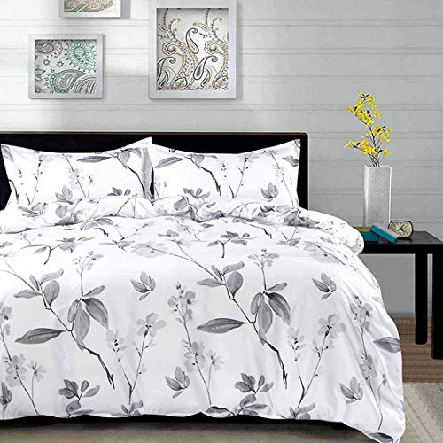 NANKO Duvet Cover Queen Set 3 Piece 90 X 90 Luxury Microfiber Down Flowers Comforter Quilt Cover With Zipper Ties Best Modern Bedding For Men Women Bed White Floral Leaf 0