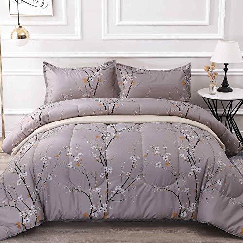 NANKO King Comforter Set 3 Pc 104x90 Gray Pastel Floral Flower Print Soft Microfiber Bedding All Season Quilted Comforter With 2 Pillowshams Farmhouse Bed Set For Women Men 0 0