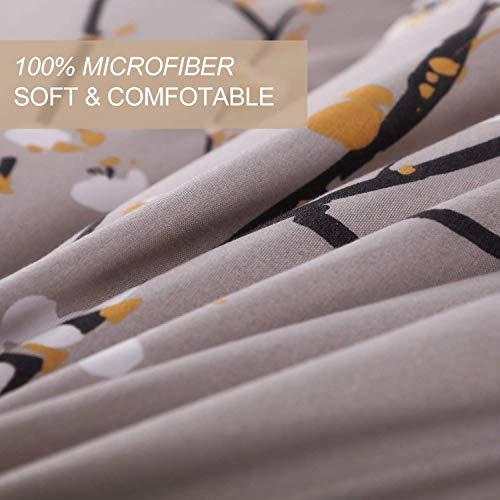 NANKO King Comforter Set 3 Pc 104x90 Gray Pastel Floral Flower Print Soft Microfiber Bedding All Season Quilted Comforter With 2 Pillowshams Farmhouse Bed Set For Women Men 0 1