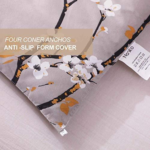 NANKO King Comforter Set 3 Pc 104x90 Gray Pastel Floral Flower Print Soft Microfiber Bedding All Season Quilted Comforter With 2 Pillowshams Farmhouse Bed Set For Women Men 0 3