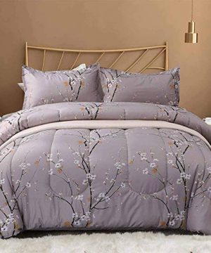 NANKO King Comforter Set 3 Pc 104x90 Gray Pastel Floral Flower Print Soft Microfiber Bedding All Season Quilted Comforter With 2 Pillowshams Farmhouse Bed Set For Women Men 0 300x360