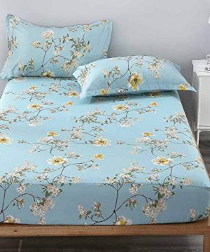 NANKO-Queen-Fitted-Sheet-80x60-Deep-Pocket-Mattress-Teal-Floral-Farmhouse-Best-Luxury-Cool-Soft-Lightweight-Microfiber-Bedding-Set-2-Pillowcases-Green-White-Flower-10-11-12-14-15-16-inch-0