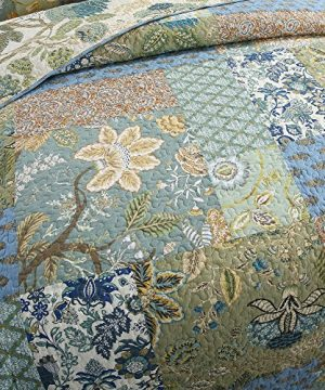 NEWLAKE Bohemian Floral Pattern Bedspread Quilt Set With Real Stitched EmbroideryQueen Size 0 0 300x360