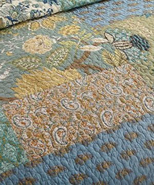 NEWLAKE Bohemian Floral Pattern Bedspread Quilt Set With Real Stitched EmbroideryQueen Size 0 1 300x360