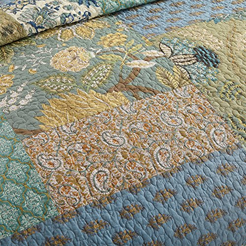 NEWLAKE Bohemian Floral Pattern Bedspread Quilt Set With Real Stitched EmbroideryQueen Size 0 1